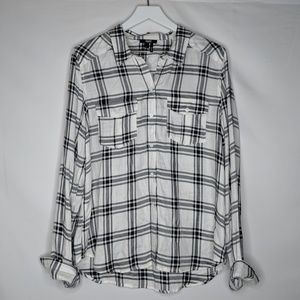 Paige Flannel Button Up White Black Myers Plaid